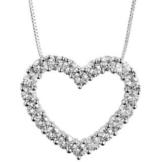 Charles & Colvard 14k White Gold 1.20 TGW Round Forever Brilliant Moissanite Heart Pendant