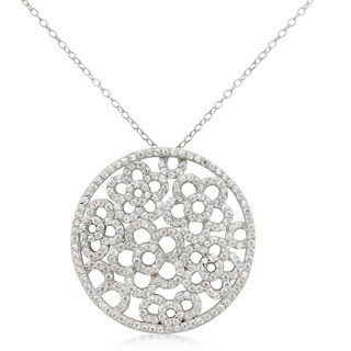 Gioelli Sterling Silver Cubic Zirconia Round Flower Necklace