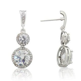 Gioelli Sterling Silver Round-cut Cubic Zirconia Dangle Earrings