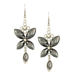 Bleek2Sheek Hematite and Rhinestone Crystal Butterfly Dangle Earrings