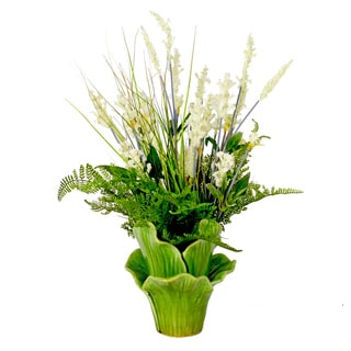Creative Displays Heather and Grass with Fern Silk Flower in Green Leaf Ceramic Vase