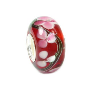 Queenberry Sterling Silver Flower Red Glass European Bead Charm