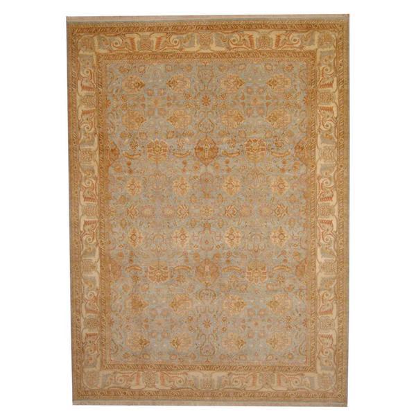 Handmade Herat Oriental Indo Vegetable Dye Oushak Wool Rug - 8'7 x 11'9 (India)