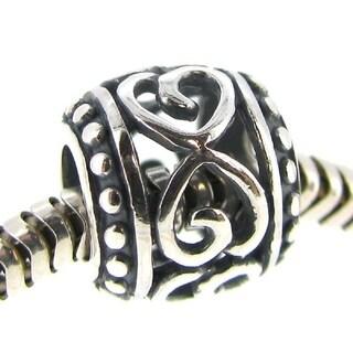 Queenberry Sterling Silver Infinity Love Filigree Flower Open Heart Flower European Bead Charm