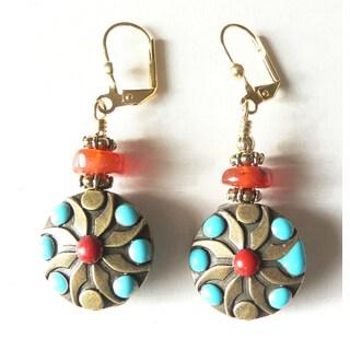 Palmtree Gems 'Dagmar' Carnelian and Turqoise Disc Dangle Earrings