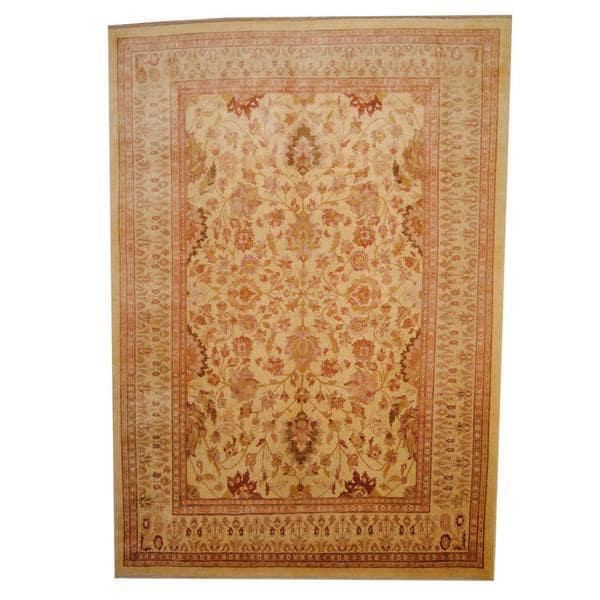 Handmade Herat Oriental Afghan Vegetable Dye Oushak Wool Rug (Afghanistan) - 8'9 x 12'5