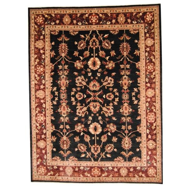 Herat Oriental Afghan Hand-knotted Vegetable Dye Oushak Wool Rug (9' x 12') - 9' x 12'