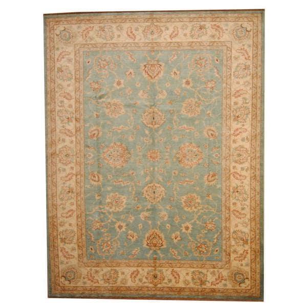 Handmade Herat Oriental Afghan Vegetable Dye Oushak Wool Rug (Afghanistan) - 9' x 11'9