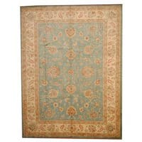 Herat Oriental Afghan Hand-knotted Vegetable Dye Oushak Wool Rug (9' x 11'9) - 9' x 11'9