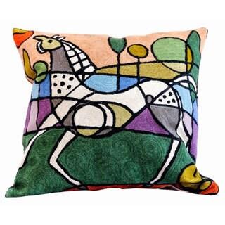 Handmade Wool/ Cotton Horse Design Decorative Pillow Cover (India)