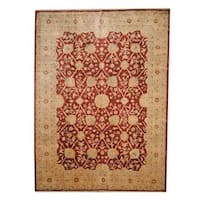 Handmade Herat Oriental Afghan Vegetable Dye Ziegler Wool Rug - 8'10 x 10'10 (Afghanistan)