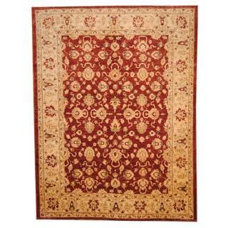 Herat Oriental Afghan Hand-knotted Vegetable Dye Oushak Wool Rug (8'7 x 11'6)