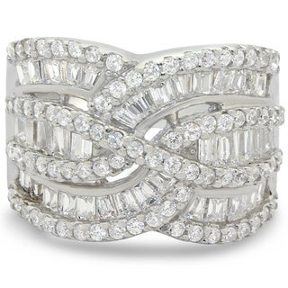 Sterling Silver 3.1ct Cubic Zirconia Wavy Ring (Size 8.25)