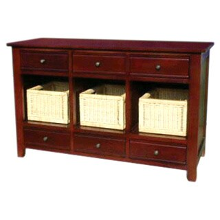 Handmade D-Art Stenton Console with Six Drawers and Three Baskets (Indonesia)