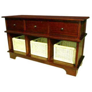 Handmade D-Art Mahogany 3-Drawer and Basket Console (Indonesia)