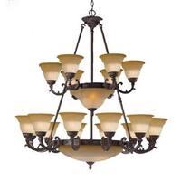 Traditional Norwalk 16 + 8-light Venetian Bronze Chandelier
