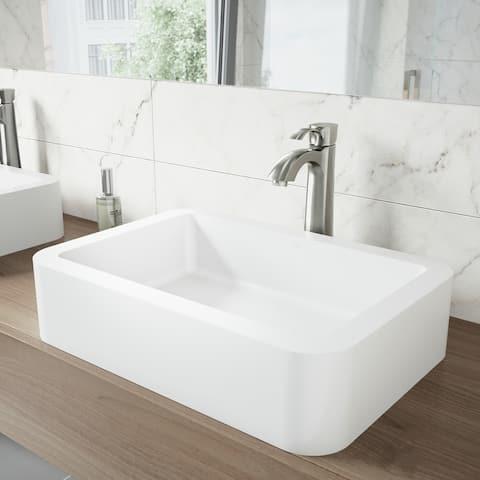 VIGO Petunia Matte White Stone Vessel Bathroom Sink