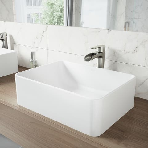 VIGO Amaryllis Matte White Stone Vessel Bathroom Sink