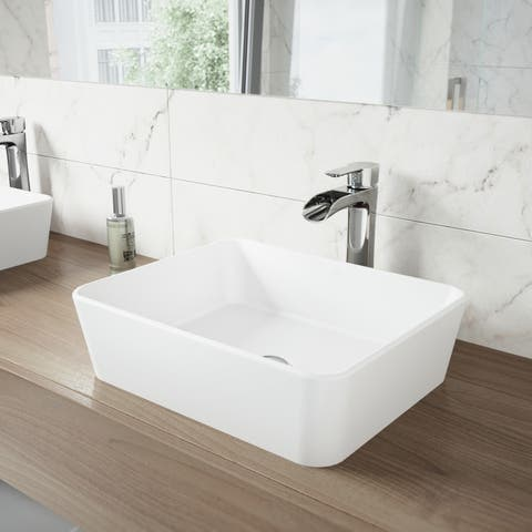 VIGO Marigold Matte White Stone Vessel Bathroom Sink