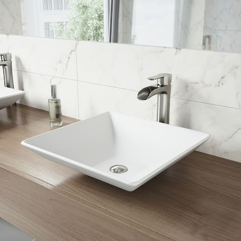 VIGO Hibiscus Matte White Stone Vessel Bathroom Sink