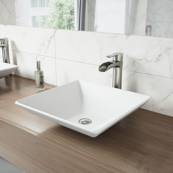 Vigo Hibiscus Matte White Stone Vessel Bathroom Sink On Sale Overstock 9825705