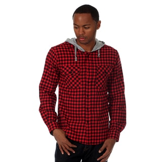 Something Strong Men's Long sleeve hooded flannel shirt in Red