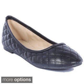 Coshare Women's Crunch-25 Quilting Design Low Top Ballerina Flats