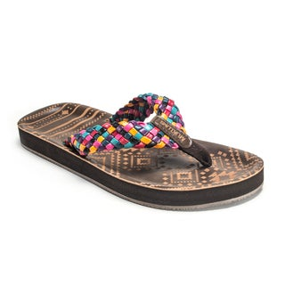 Muk Luks Women's 'Poppy' Multicolor Laser-cut Flip Flops