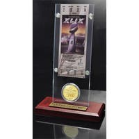 New England Patriots Super Bowl XLIX Champions Ticket and Bronze Coin Acrylic Desk Top