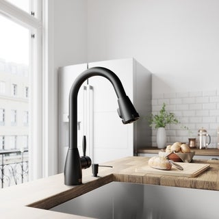 VIGO Graham Matte Black Pull-Down Spray Kitchen Faucet