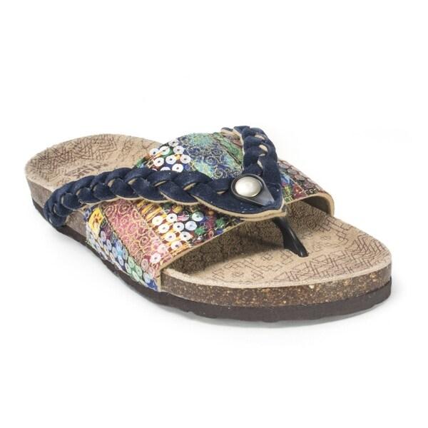 Shop Muk Luks Women S Ann Navy Braided Sandals Free