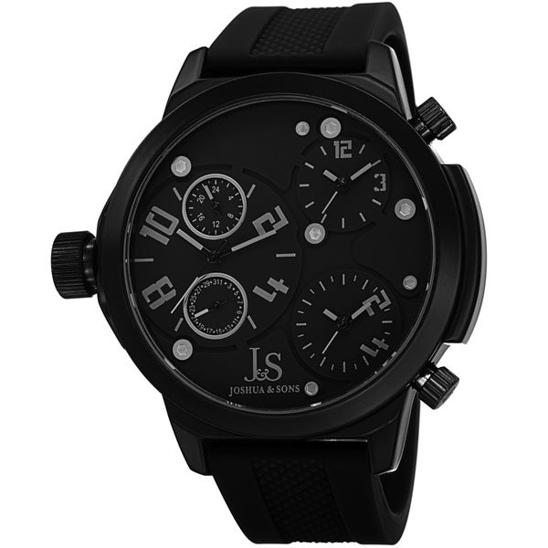 Joshua & Sons Men's Quartz Triple Time Zone Rubber Black Strap Watch