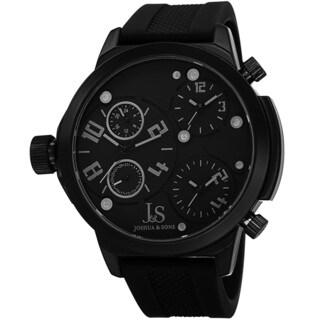Joshua & Sons Men's Quartz Triple Time Zone Rubber Black Strap Watch