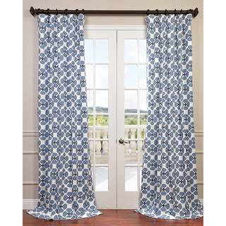 Exclusive Fabrics Clover Blue Printed Cotton Twill Curtain