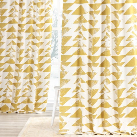 Exclusive Fabrics Triad Gold Printed Cotton Twill Curtain Panel