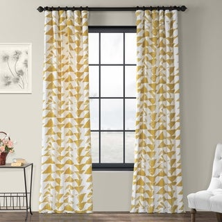 Exclusive Fabrics Triad Gold Printed Cotton Twill Curtain Panel (More options available)