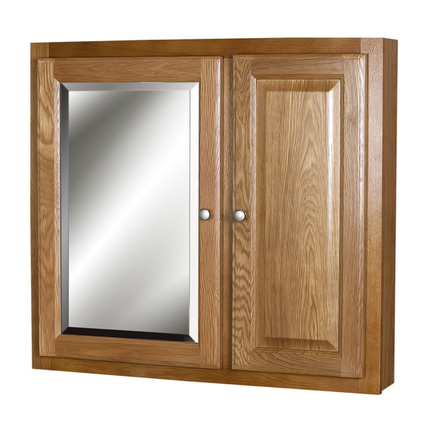 oak raised panel medicine cabinet free shipping today overstock