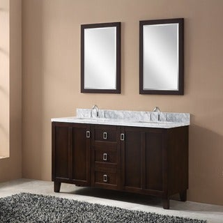 Contemporary Style Dark Brown 60-inch Carrara White Marble Top Double Sink Bathroom Vanity