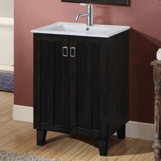 24-inch Single Sink Bathroom Vanity in Dark Brown Finish