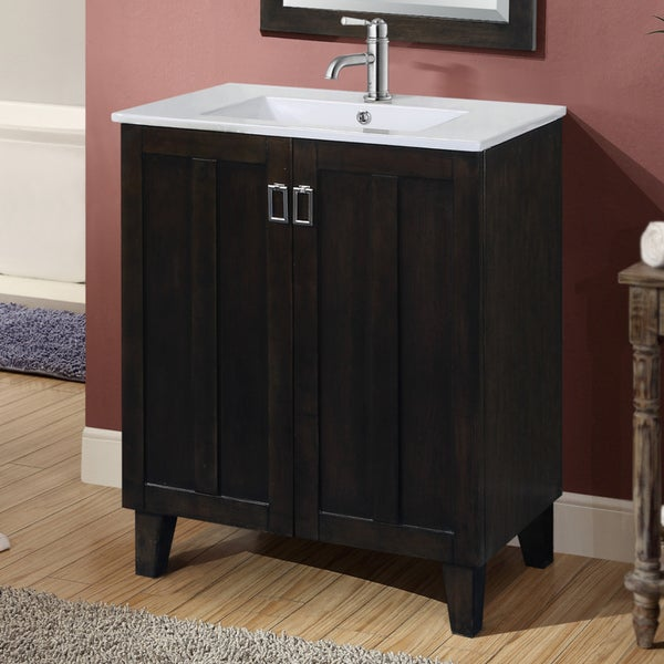 30-inch Single Sink Bathroom Vanity in Dark Brown Finish