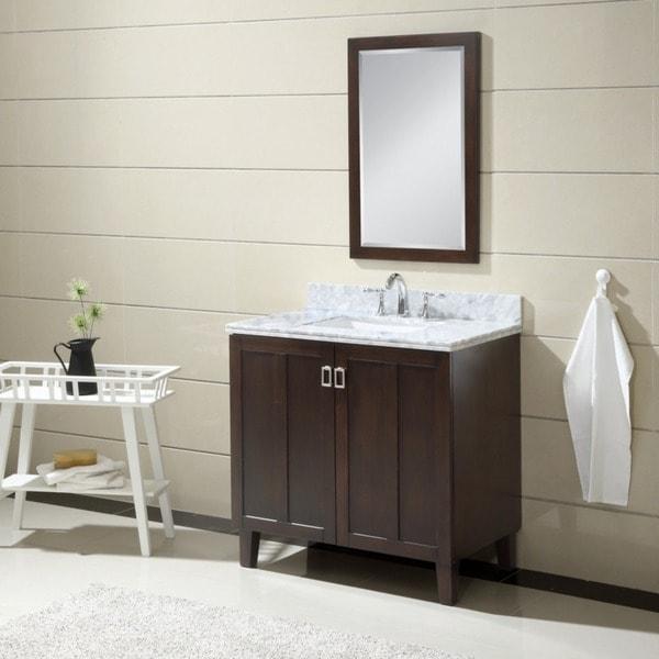 Carrara 36-inch White Marble Top Single Sink Bathroom Vanity in Dark Brown Finish