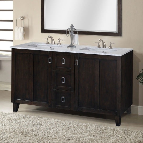 60 inch white marble top double sink bathroom vanity in dark brown