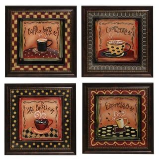'Coffee Time' Framed 3D Metal Wall Art Decor (Set of 4)