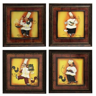 'Chef' Framed 3D Metal Wall Art (Set of 4)