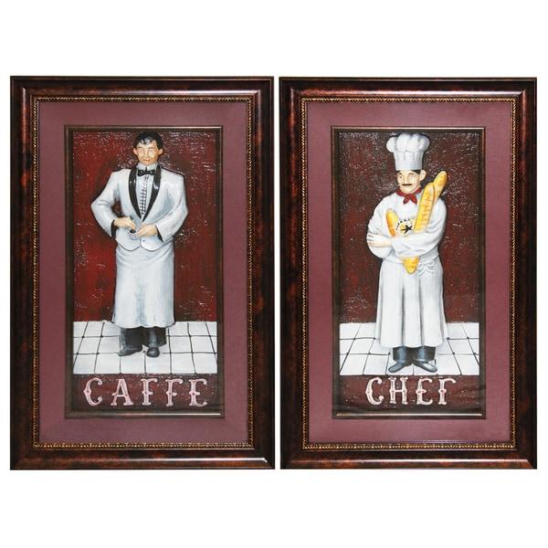 'Cafe Chef' Framed 3D Metal Wall Art (Set of 2)