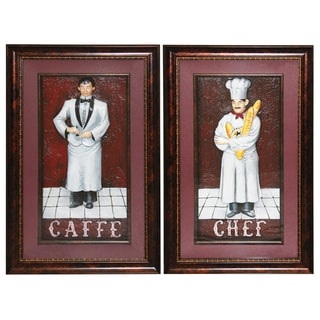 'Cafe Chef' Framed 3D Metal Wall Art (Set of 2)
