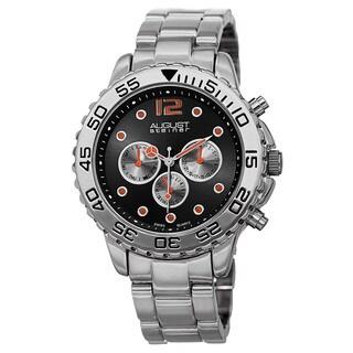 August Steiner Men's Swiss Quartz Colored Dial Dual Time Zone Silver-Tone Bracelet Watch