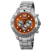 August Steiner Men's Swiss Quartz Dual Time Zone Orange Bracelet Watch