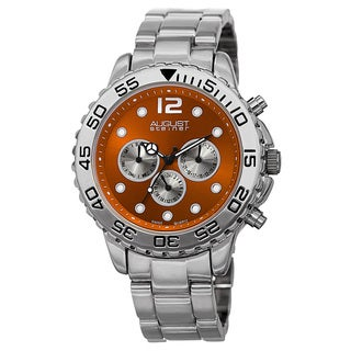 August Steiner Men's Swiss Quartz Dual Time Zone Orange Bracelet Watch