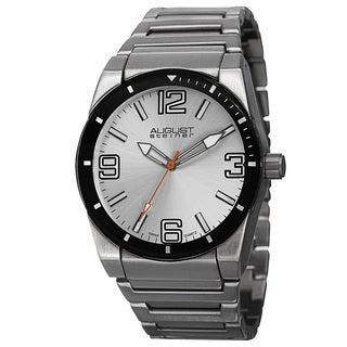 August Steiner Men's Swiss Quartz Easy to Read Markers Silver-Tone Bracelet Watch